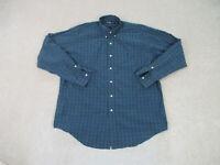 Ralph Lauren Polo Button Up Shirt Adult Large Blue Green Long Sleeve Mens A69 *