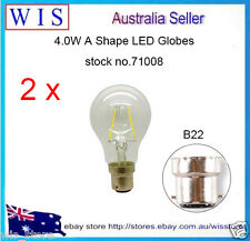 2 x 4.0W B22 LED Super Low Energy Classic Globe Style Light Bulb,Non-dimmable