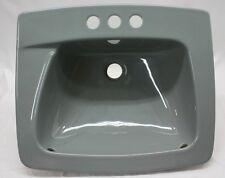 """(BS-94) NOS Vintage Gray Gunmetal Retro Bathroom Sink Drop In 19"""" Square"""