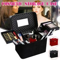 Large Vanity Case Beauty Box Make Up Cosmetic Storage Mirror Travel