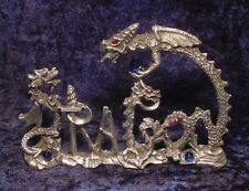 Dramatic Pewter DRAGON WORD with Many Colorful Crystals