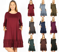 Women's Plus Soft Knit Long Tunic Dress Ruffled Hem 3/4 Sleeve Basic Solid Color