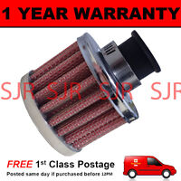 9mm MINI AIR OIL VENT VALVE BREATHER FILTER FITS MOST CARS RED & CHROME ROUND