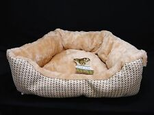 "Triangular Pet Puppy Dog Cat Bed Tan Fleece With Brown Beige White 16"" x 11"" x 5"