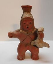 Figure with Seal Tribal Necklace Ornate Headdress Earthenware Terra Cotta