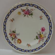 Royal Crown Derby SPRING (A736) Luncheon Plate BLUE GREEK KEY More Avail POSIES