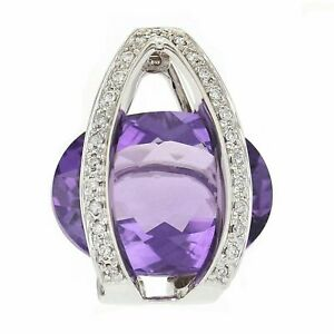 18k White Gold 0.35ctw Oval Amethyst and Diamond Cage Slide Pendant