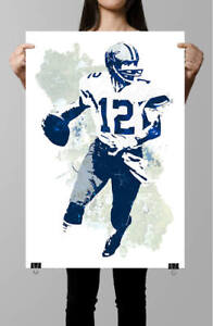 Roger Staubach Dallas Cowboys Poster-Color Poster-Sports Poster -Poster Print