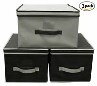 Storage Bin Basket Box Collapsible Foldable Stackable Fold Flat (Set of 3)