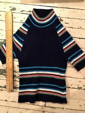 Vintage Baby Sweater Italian Piccolino Sport Navy W/ Green pink white and blue