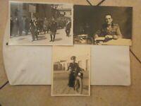 WW2 LOTTO 3 VERE FOTOGRAFIE MILITARE UFFICIALE IN MOTOCICLETTA E  FASCISTI
