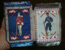 Old antique Japanese Danish soldier flag tobacco cigarette flannel Felt mini rug