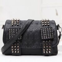 Gothic Black Skull Rivet Crossbody Bag Vintage Punk Messenger Bag Shoulder Bag