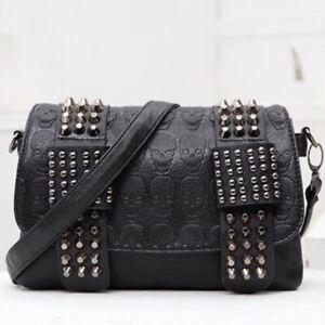Gothic Black Skull Rivet Crossbody Bag Vintage Punk Messenger Bag Shoulder Bag
