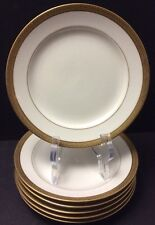 "LIMOGES FRANCE CORONET 6 SIDE PLATES 6""~GOLD ENCRUSTED RIM ON WHITE"
