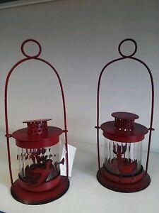 Weihnachts Laterne aus  Metall mit Glaseinsatz für Teelichter 1 Stück Nr. 3208
