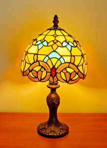 """14"""" Tiffany Table Lamps Leadlight Stained Glass Crystal Bead Crown Style"""