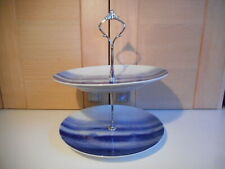 SPAL PORCELAIN BLUE WAVES PATTERN TWO TIER CHINA CAKE STAND PORTUGAL