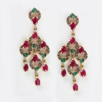 Emerald Gemstone Ruby Dangle Earrings 925 Sterling Silver Pave Diamond Jewelry