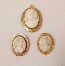 Gold Carved Shell Cameo Pins/Pendants 3 Antique 10 K Yellow