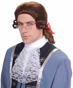 Coloniali Uomo Adulto Giudice Soldato Rinascimento Costume Halloween Parrucca
