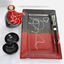 Hively Pottery Sushi Set Serving Plate Chop Sticks Soy Sauce Bottle Dip Bowl USA