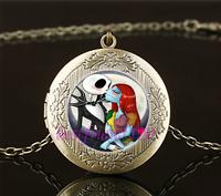 Vintage Jack And Sally Love Cabochon Glass Brass Locket Pendant Necklace