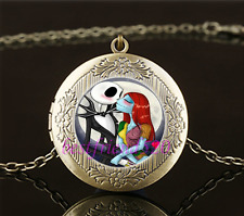 Vintage Jack And Sally Love Cabochon Glass Brass Locket Pendant Necklace