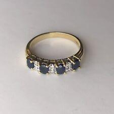 Ivy Gems 9ct Yellow Gold Blue Sapphire & Diamond Half Eternity Ring Size N BNIB