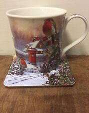 Christmas Robin Mug & Coaster Brand New Christmas Mug & Coaster Gift Set Present