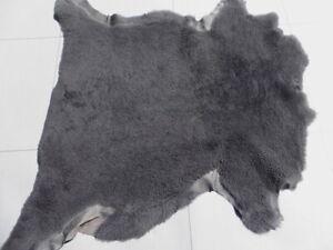 sheepskin shearling leather hide Dark Grey Curly Hair w/Matching Matte back