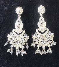 Vintage Monet Signed Crystal Clear Diamond Tone Chandelier Earrings Clip On