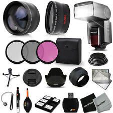 Xtech Kit for Nikon D3200 52mm KIT w/ 2X + Wide Lenses +Flash +Filters MORE!