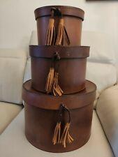 Three Leather Travel Hat Box Set