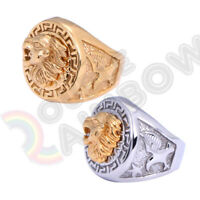 Men Vintage Gold Silver Stainless Steel Retro Lion Head Ring Band#R54