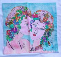 "Art Nouveau Batik(?) Pillow Case Cover Rectangle 16.5"" x 17.5"" Floral Faces"