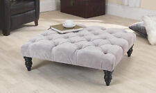 3ft Jacobs Grey Velvet Chesterfield Buttoned Footstool/Coffee Table