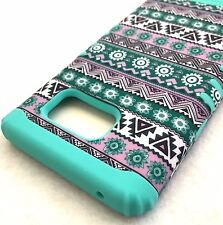 For Samsung Galaxy Note 5 - HARD&SOFT HYBRID IMPACT CASE GREEN BLUE AZTEC TRIBAL