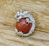 Goldstone Stone Dragon Pendant Charm Meditation Reiki Yoga Gift Natural Gemstone
