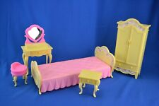 Barbie Bedroom Furniture Set - Bed, Wardrobe, Vanity, Stool and Side Table