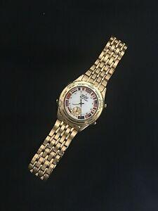 Vintage Seiko Quartz Watch World Timer Gold Plated 8V22-7008 Works!