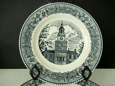 """Royal China USA Colonial Heritage Blue Set of 4 (10"""") Dinner Plates Preowned"""