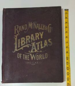 1894 Rand McNally Library Atlas of The World , Color Maps of U.S. & World