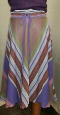 CATHERINE ANDRE A-LINE FLOWY MULTICOLORED STRIPED MIDI SKIRT SZ L