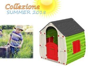 Casa casetta giochi per bambini da giardino in resina colorata cm 102x90x109h