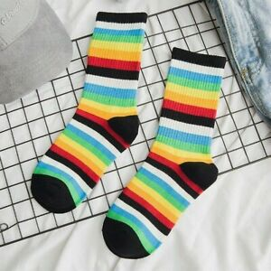 1 Pair Rainbow Striped Socks Mid Calf Colorful Sock Cotton Men Women Funny