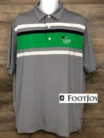 FootJoy FJ Men's Gray Striped Color Block Short Sleeve Casual Golf Polo Shirt L