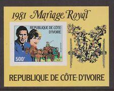 1981 Royal Wedding Charles & Diana MNH Stamp Sheet Ivory Coast Imperf