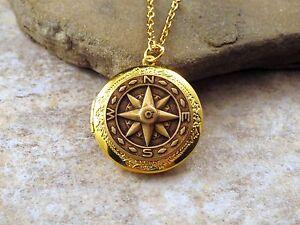 Handmade Oxidized Brass Compass Locket Necklace