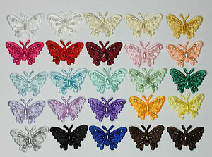 Fait Main Satin Perlé Papillon À Coudre Embellissement Motifs ( 16 Couleurs )